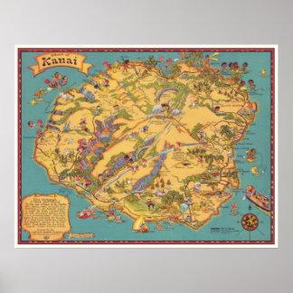 Vintage Map of the Island of Kauai Poster