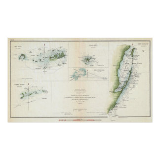Vintage Map of The Keys of Florida (1853) Poster