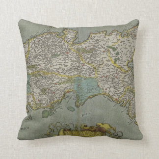 Vintage Map of The Kingdom of Naples (1608) Throw Pillow
