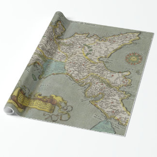 Vintage Map of The Kingdom of Naples (1608) Wrapping Paper