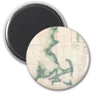 Vintage map of the Massachusetts Coastline 2 Inch Round Magnet