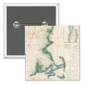 Vintage map of the Massachusetts Coastline Pin
