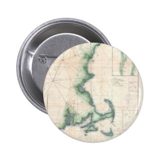 Vintage map of the Massachusetts Coastline Buttons