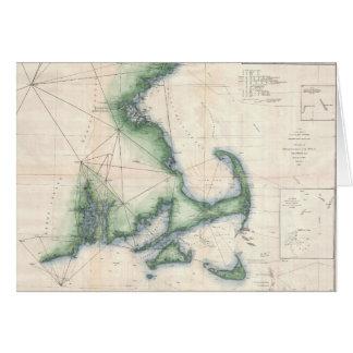 Vintage map of the Massachusetts Coastline Card