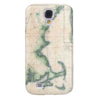 Vintage map of the Massachusetts Coastline Samsung Galaxy S4 Cases