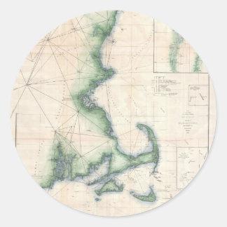 Vintage map of the Massachusetts Coastline Classic Round Sticker