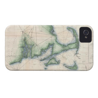 Vintage Map of the Massachusetts Coastline iPhone 4 Case-Mate Cases