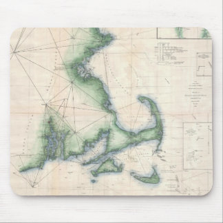 Vintage map of the Massachusetts Coastline Mouse Pad