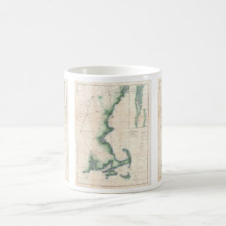 Vintage map of the Massachusetts Coastline Coffee Mugs
