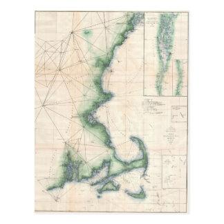 Vintage map of the Massachusetts Coastline Postcard
