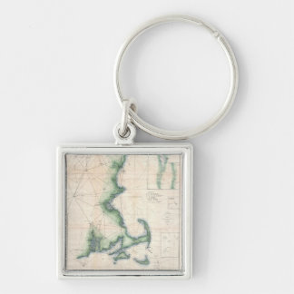 Vintage map of the Massachusetts Coastline Silver-Colored Square Keychain