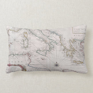 Vintage Map of The Mediterranean Sea (1745) Lumbar Pillow