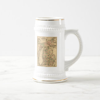 Vintage Map of The Michigan Railroads (1876) Beer Stein