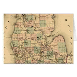 Vintage Map of The Michigan Railroads (1876) Card