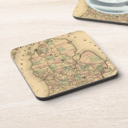 Vintage Map of The Michigan Railroads (1876) Beverage Coasters