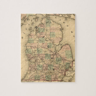 Vintage Map of The Michigan Railroads (1876) Jigsaw Puzzle