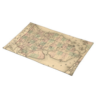 Vintage Map of The Michigan Railroads (1876) Placemat