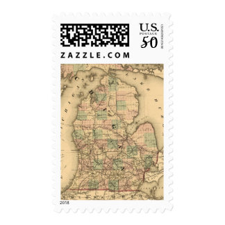 Vintage Map of The Michigan Railroads (1876) Postage
