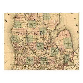 Vintage Map of The Michigan Railroads (1876) Postcard