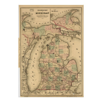 Vintage Map of The Michigan Railroads (1876) Poster