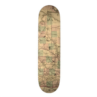 Vintage Map of The Michigan Railroads 1876 Skateboards