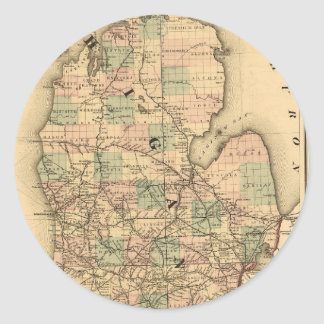 Vintage Map of The Michigan Railroads (1876) Round Stickers