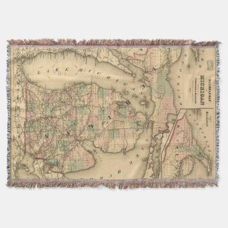 Vintage Map of The Michigan Railroads (1876) Throw Blanket