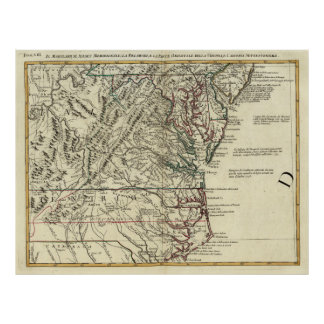 Vintage Map of The Mid Atlantic States (1778) Poster