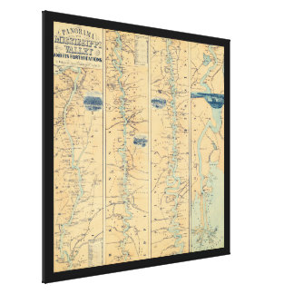 Vintage Map of The Mississippi River (1863) Canvas Print