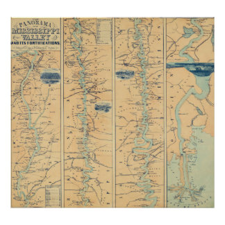 Vintage Map of The Mississippi River (1863) Poster
