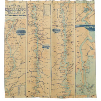 Vintage Map of The Mississippi River (1863) Shower Curtain
