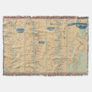 Vintage Map of The Mississippi River (1863) Throw Blanket