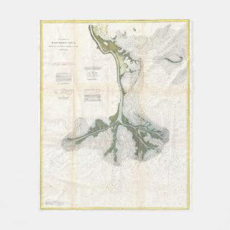 Vintage Map of The Mississippi River Delta (1874) Fleece Blanket