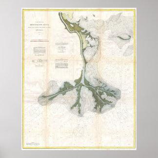 Vintage Map of The Mississippi River Delta (1874) Poster