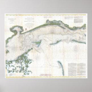 Vintage Map of The Mississippi Sound (1866) Poster