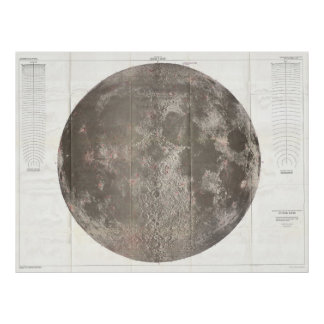 Vintage Map of The Moon (1961) Poster