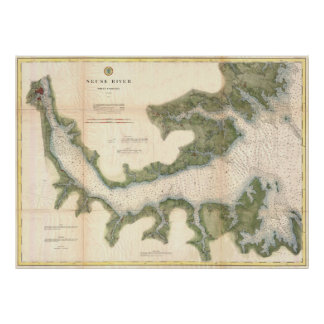 Vintage Map of The Neuse River (1874) Poster