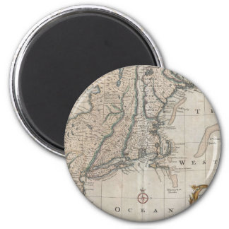 Vintage Map of The New England Coast (1747) 2 Inch Round Magnet