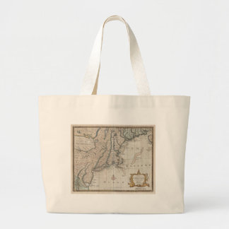 Vintage Map of The New England Coast (1747) Canvas Bags