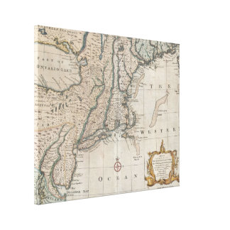 Vintage Map of The New England Coast (1747) Stretched Canvas Print