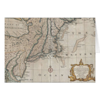 Vintage Map of The New England Coast (1747) Card
