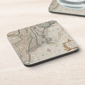 Vintage Map of The New England Coast (1747) Drink Coaster