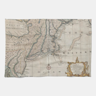 Vintage Map of The New England Coast (1747) Towels