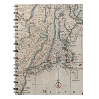 Vintage Map of The New England Coast (1747) Spiral Note Books