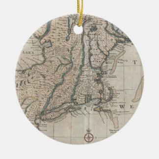 Vintage Map of The New England Coast (1747) Christmas Tree Ornaments