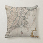 Vintage Map of The New England Coast (1747) Pillows