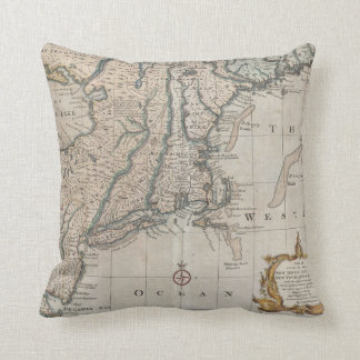 Vintage Map of The New England Coast (1747) Pillow