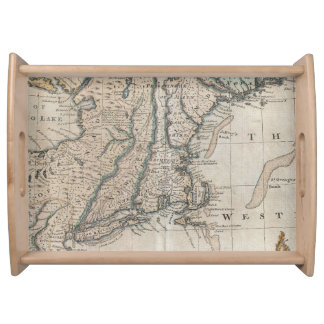 Vintage Map of The New England Coast (1747) Service Tray