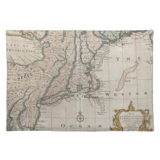 Vintage Map of The New England Coast (1747) Placemats