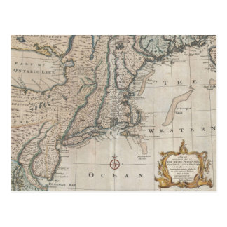 Vintage Map of The New England Coast (1747) Post Card